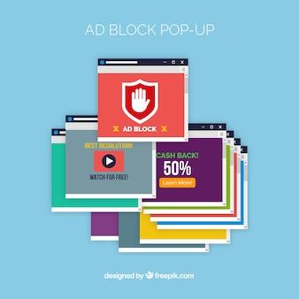 Modelo pop-up de bloco de anúncios