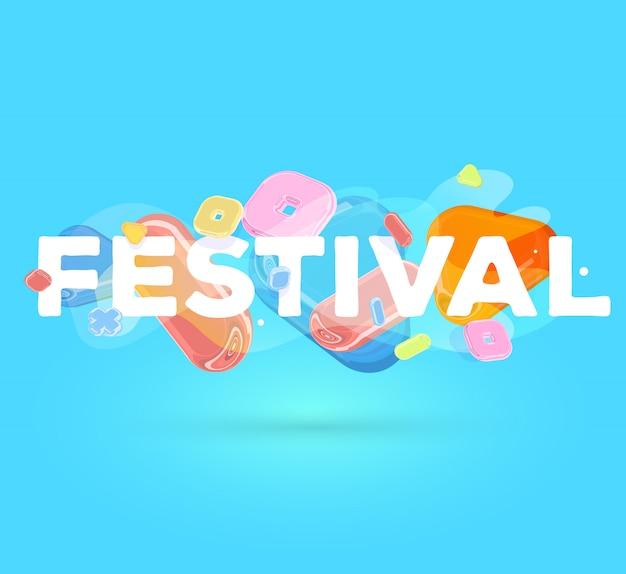 Modelo positivo moderno com elementos de cristal brilhante e palavra festival sobre fundo azul com sombra.
