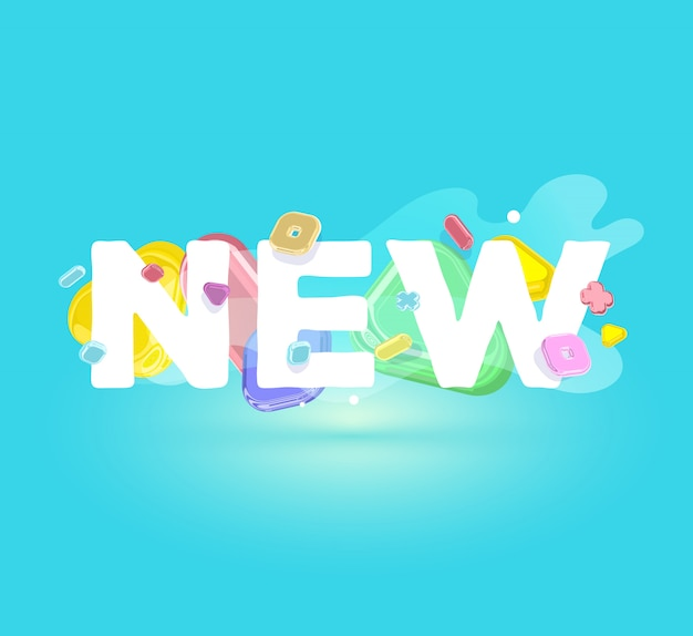 Modelo positivo moderno com elementos de cristal brilhante e palavra nova sobre fundo azul com sombra.