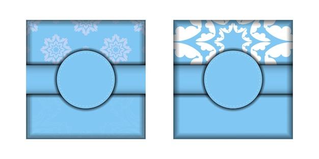 Modelo postal azul com padrão branco abstrato preparado para tipografia.