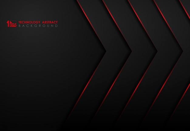 Modelo preto abstrato de tecnologia com fundo de design de laser de brilho vermelho.