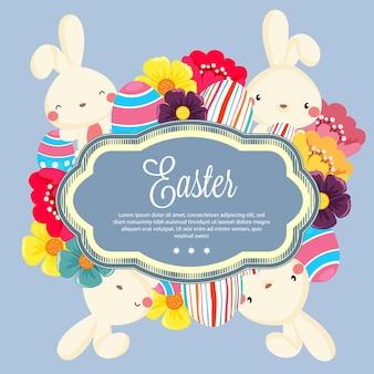 Modelo primavera páscoa estilo simples coelho bonito