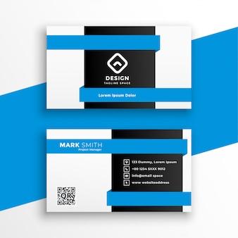 Modelo profissional de cartão de visita azul geométrico