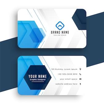 Modelo profissional de cartão de visita moderno azul