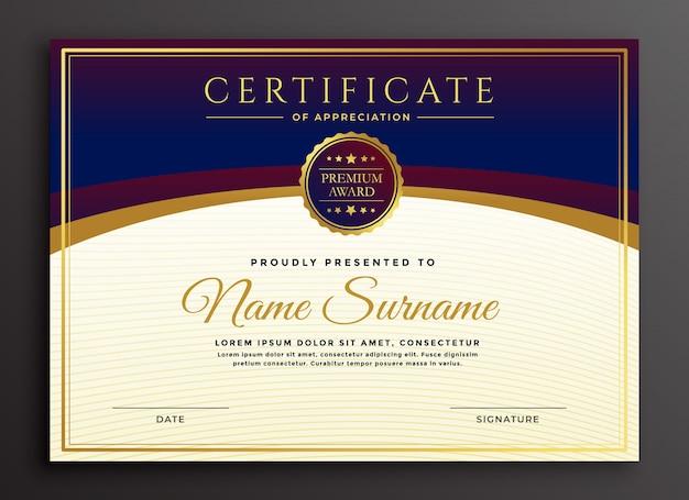 Modelo profissional de design de certificado elegante