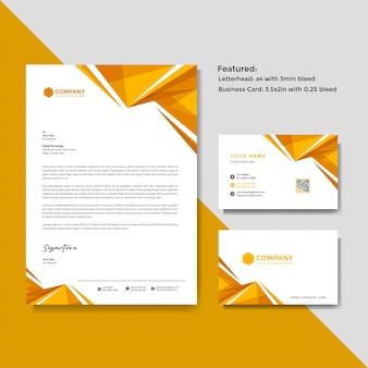 Modelo profissional de papel timbrado e cartão de visita