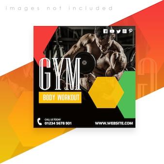 Modelo quadrado de banner ou panfleto. treino de ginásio