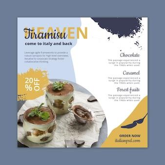Modelo quadrado de panfleto de comida italiana