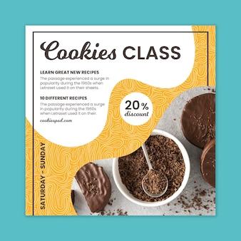 Modelo quadrado de panfleto de cookies