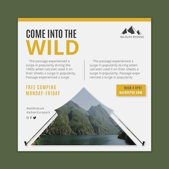 Modelo quadrado de panfleto de natureza selvagem