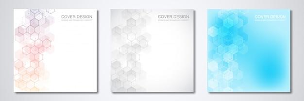 Modelo quadrado para capa ou brochura, com fundo abstrato geométrico de estruturas moleculares e compostos químicos.