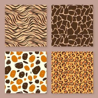 Modelo quadrado sem costura de padrões modernos de impressão animal