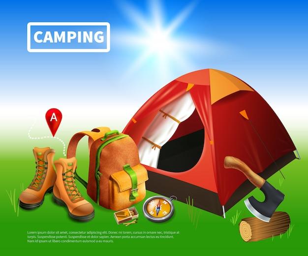 Modelo realista de acampamento