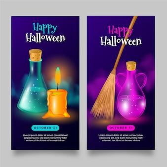 Modelo realista de banners de halloween