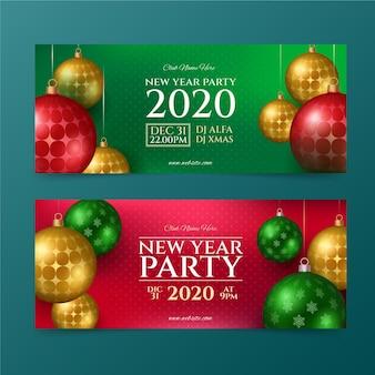 Modelo realista de banners para festas de ano novo 2021