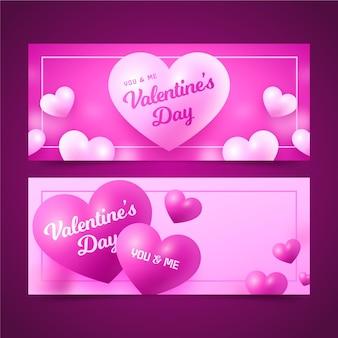 Modelo realista de banners para o dia dos namorados