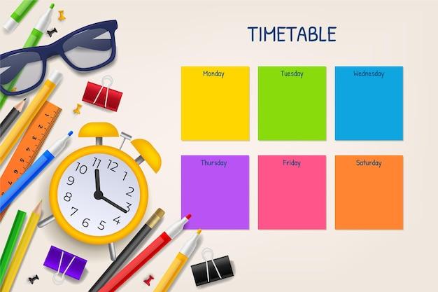 Modelo realista de calendário de volta às aulas