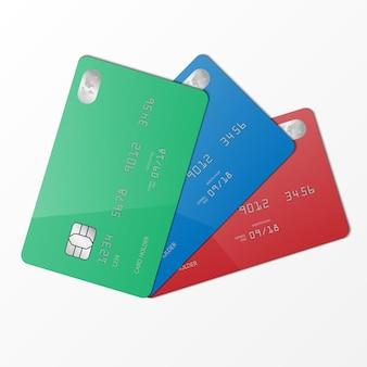 Modelo realista de cartão de crédito verde, azul e vermelho