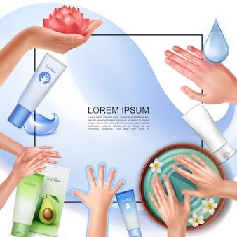 Modelo realista de cuidados com a pele com moldura para texto, diferentes procedimentos de cuidados com as mãos, tubos cosméticos e embalagens de creme