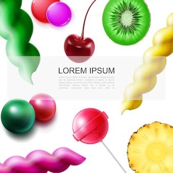 Modelo realista de doces de frutas com pedaços de abacaxi de kiwi, gomas coloridas, ilustração de doces de pirulito