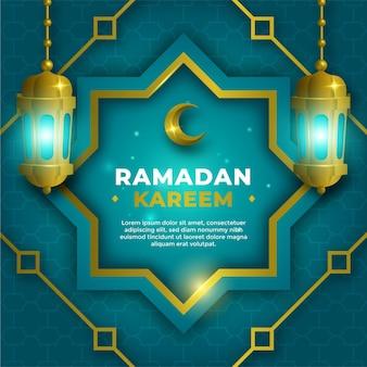 Modelo realista de eid ramadhan kareem com velas