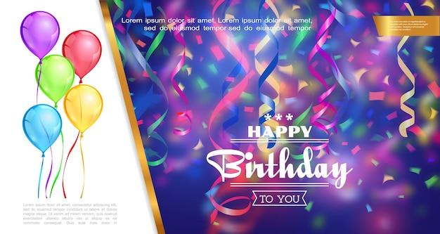 Modelo realista de feliz aniversário com balões coloridos caindo, fitas e confetes na ilustração de fundo desfocado