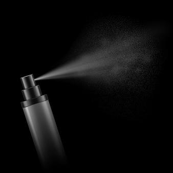 Modelo realista de frasco de spray de plástico em branco com névoa de spray em fundo preto