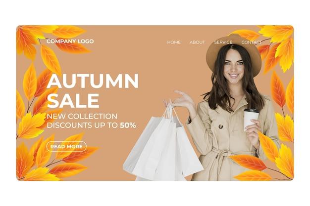 Modelo realista de página de destino de venda de outono com foto