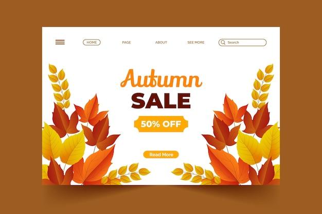 Modelo realista de página de destino de venda de outono Vetor grátis