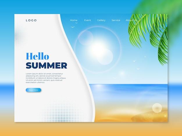 Modelo realista de página de destino de verão