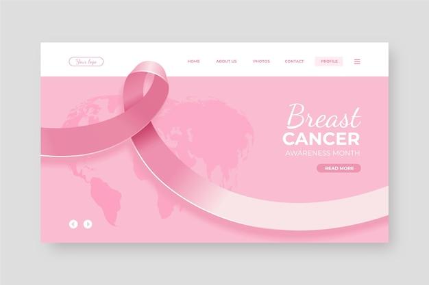 Modelo realista de página de destino para mês de conscientização sobre o câncer de mama