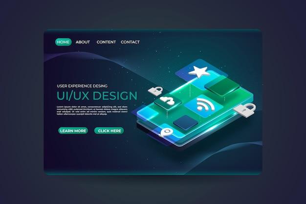 Modelo realista de página de destino ui / ux