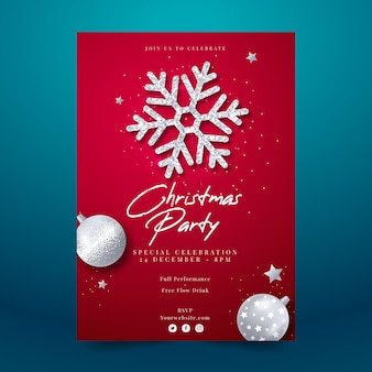 Modelo realista de panfleto de festa de natal