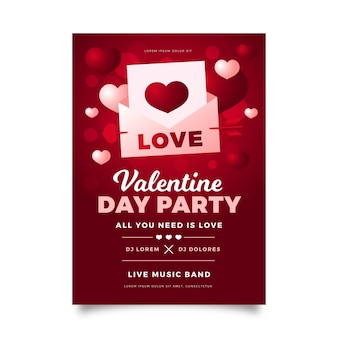Modelo realista de panfleto de festa para o dia dos namorados