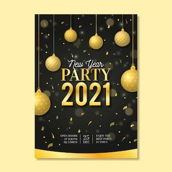 Modelo realista de pôster de festa de ano novo