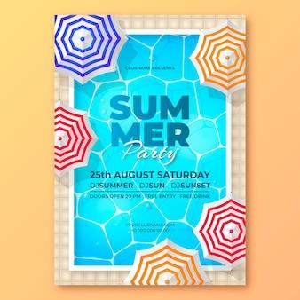 Modelo realista de pôster de festa de verão vertical