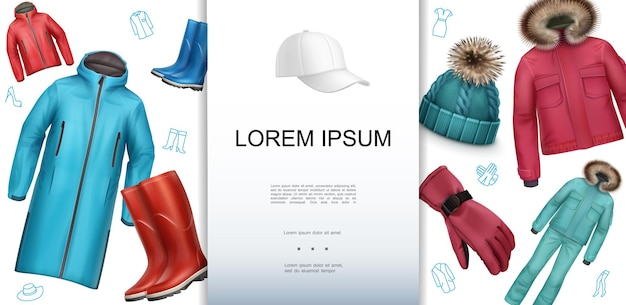 Modelo realista de roupas masculinas com botas de borracha, luva, casaco de inverno, chapéu de malha, casaco de outono boné de beisebol