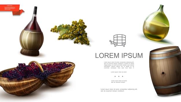 Modelo realista de uvas naturais orgânicas com cachos de garrafas de uvas brancas e vermelhas e barril de madeira cheio de vinho
