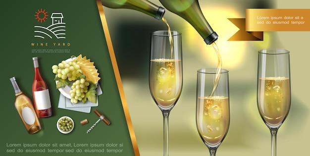 Modelo realista de vinho colorido com vinho branco é derramado em copos de garrafas saca-rolhas de queijo verde azeitonas