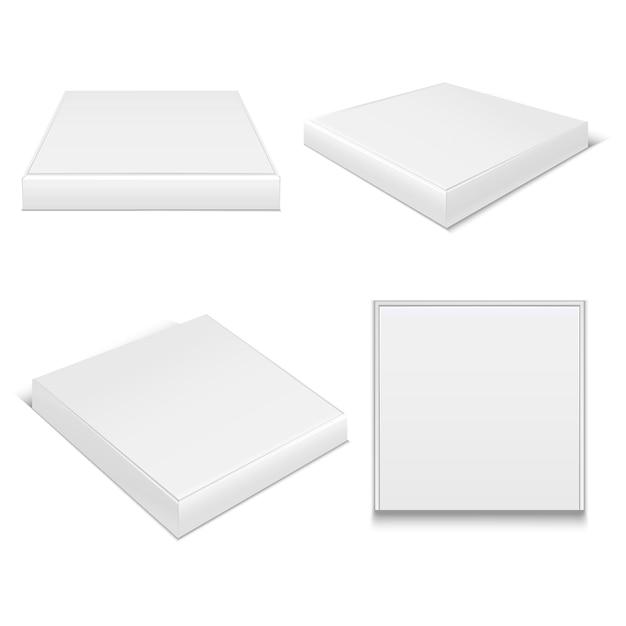 Modelo realista em branco pacote caixas de pizza