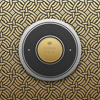 Modelo redondo de banner de texto em fundo metálico dourado com padrão geométrico sem costura. elegante estilo de luxo.