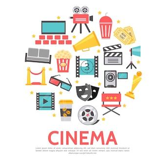 Modelo redondo de elementos de filme em estilo simples