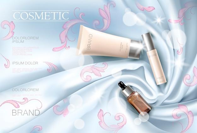 Modelo relativo à promoção cosmético da composição da mulher da cara do anúncio de seda do bordado