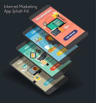 Modelo responsivo de tela inicial de aplicativo móvel da iu de marketing na internet com ilustrações modernas