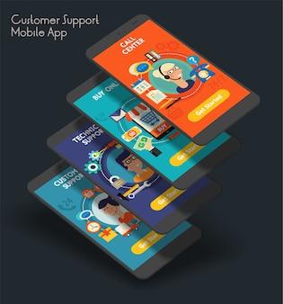 Modelo responsivo de tela inicial do aplicativo móvel da iu do atendimento ao cliente com ilustrações da moda