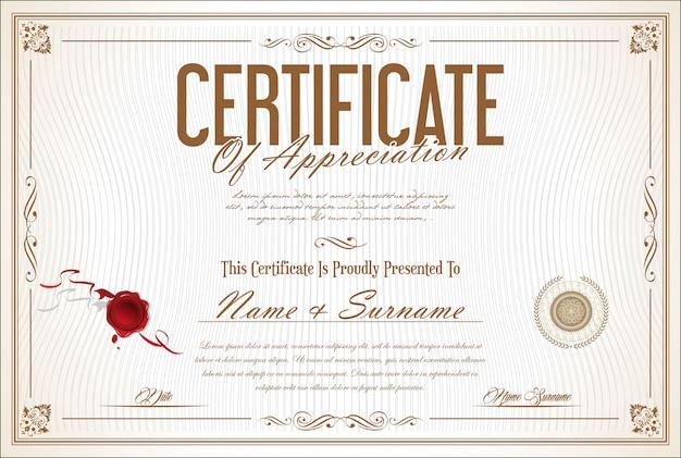 Modelo retrô certificado ou diploma