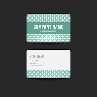 Modelo retro do design do cartão de visita do hipster. cor verde