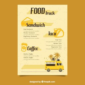 Modelo retro do menu do caminhão de alimentos