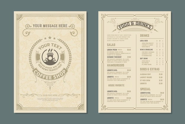 Modelo retrô para design de menu de restaurante