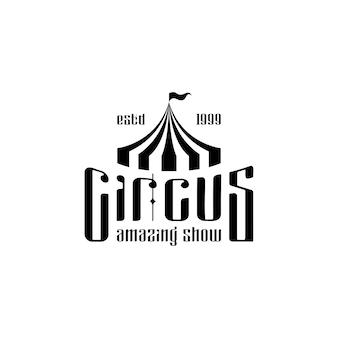 Modelo retro vintage com logotipo de tenda de circo